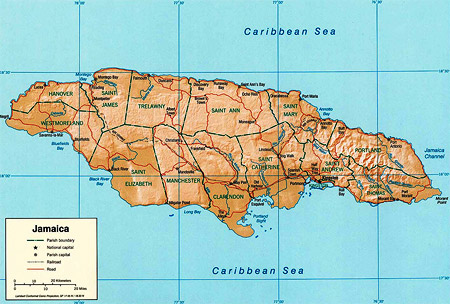 Map of Jamaica - Paradise Vacations Transport Service Montego Bay, Jamaica - St. James PO # 2, Jamaica West Indies -  http://www.paradisevacationsjamaica.com; E-mail: paradisevacationsja@yahoo.com